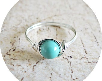 Turquoise, Jade, Ring, Pearl Ring, Silver Ring, Swarovski Ring, Turquoise Jewelry, Swarovski Jade Pearl, Wire Wrapped Ring, Pearl Jewellery