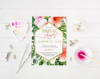 Tropical Bridal Shower Invitation Palm Tree Bridal Shower Tropical Leaves Bridal Shower Bachelorette Party Invite Printable Invitation 101