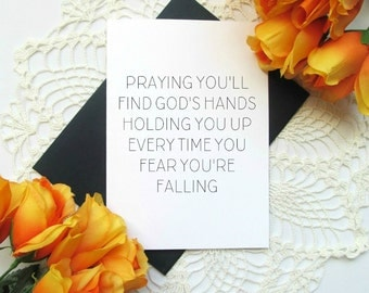 Christian Faith Encouragement Card - Simple Modern Inspirational Sympathy Card - God's Hands Holding You Up