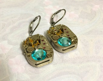 Valentine gift, Steampunk earrings with old watch parts and turquoise Swarovski crystals, leverback earrings, vintage watch movements, ,