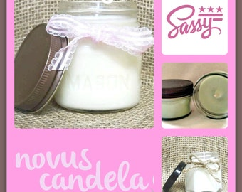 Soy Candle Mason Jar ~ Sassy Scented Soy Candle ~ Mason Jar Candle ~ Soy Candle ~ Scented Candle ~ Handmade Candle ~ Just Because  4 & 8 oz
