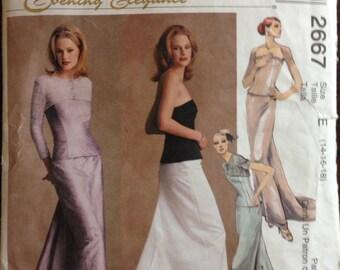 McCallls 2667 - Evening Elegance Shrug, Bustier and Skirt with Godet Train - Size 14 16 18