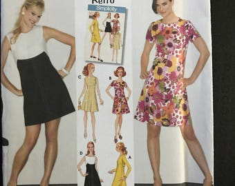 Simplicity 3833 - Retro 1960s Knee or Mini Length Dress with Contrast Bodice Option - Size 14 16 18 20 22