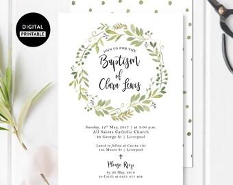 Calligraphy Baptism invitation - Christening invite - Rustic - Watercolor Wreath Foliage - printable DIY customizable Card
