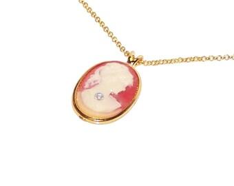 Victorian Jewelry, Victorian Cameo Necklace / SALE / Genuine Diamond / Cameo Pendant / Gold Chain - #407
