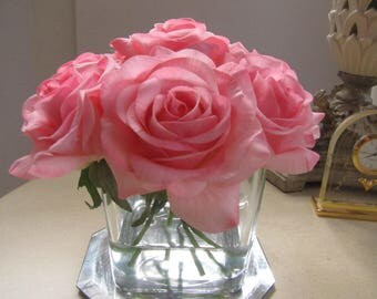 Real touch rose Arrangement -real touch pink rose in square glass vase with Faux Water
