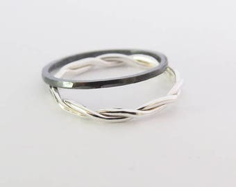 Set of 2 Stacking Rings, Silver Rope Twist Ring, Oxidized Hammered Silver Rings, Simple Rings, Dainty Stacking Rings