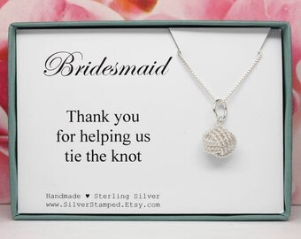 Love Knot necklace Gift for Bridesmaid Thank you for helping us tie the knot Sterling silver - Bridesmaids jewelry - Bridal Party gifts