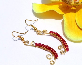 "2 1/2"" Natural Ruby Gemstone Wire Wrapped Gold Earrings - Ruby Earrings - Gemstone Earrings - Handmade Gemstone Earring N215"