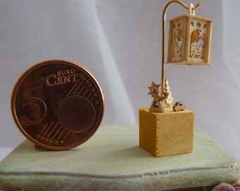 Lantern for the Doll House made of wood / / wood cubes with wooden figures / / 3.5 cm / 1.4 ""