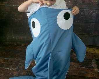 Shark Blanket (Ages 3 - 12) Sleeping Bag Sack Nap Mat with Pocket & Fleece Lining Christmas ...