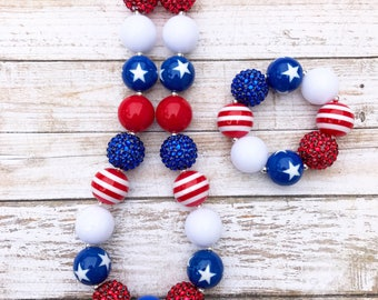 Red White and Blue Chunky Necklace, Toddler 4th of July Bubblegum Necklace, Patriotic Baby, Stars and Stripes, July 4th Chunky Bubblegum