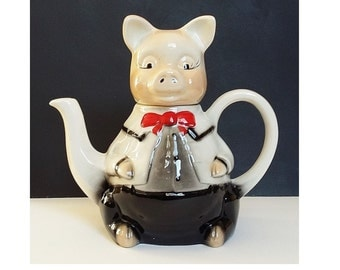 Tony Wood Pig Staffordshire Teapot Vintage Pottery Ideal Piggy Porcine Collectors Gift Cute Farmyard Animals Teapot Collecting Gift