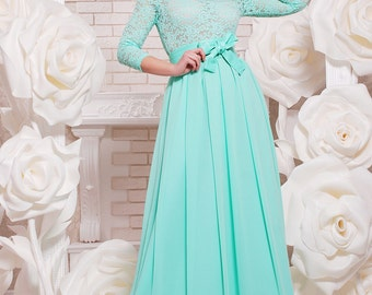 Mint  long dress Bridesmaid Evening Dress Wedding Dress floor Maxi wedding dress Mint wedding