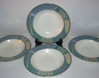 Mikasa Soup Bowls - Mikasa Intaglio Life Style Bowls - Geometric Bowls - Set of 4