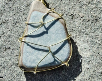Blue and white tile, wire wrapped pendant