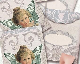 printable Tea Bag Envelope, Angel/ INSTANT DOWNLOAD/digital collage sheet/DIY