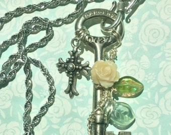 SALE Antique Sargent Skeleton Key Necklace Silver Cross & Mother of Pearl Rose, Steampunk Jewelry, Wire Wrapped Vintage Key Pendant