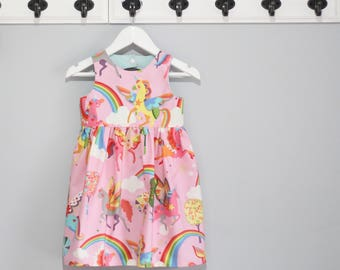 Pink & rainbow unicorn tea party dress