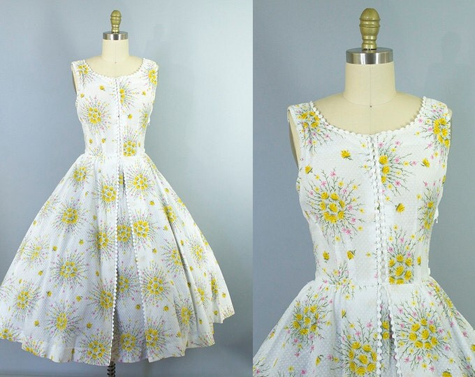 1950s floral cotton dress/ 50s swiss dot sundress/ medium