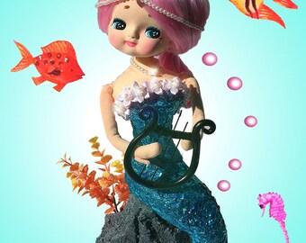 "11 x 14 ""Sitting Meyercord Mermaid"" Custom Pose Doll Print.  Mermaids are Real!"