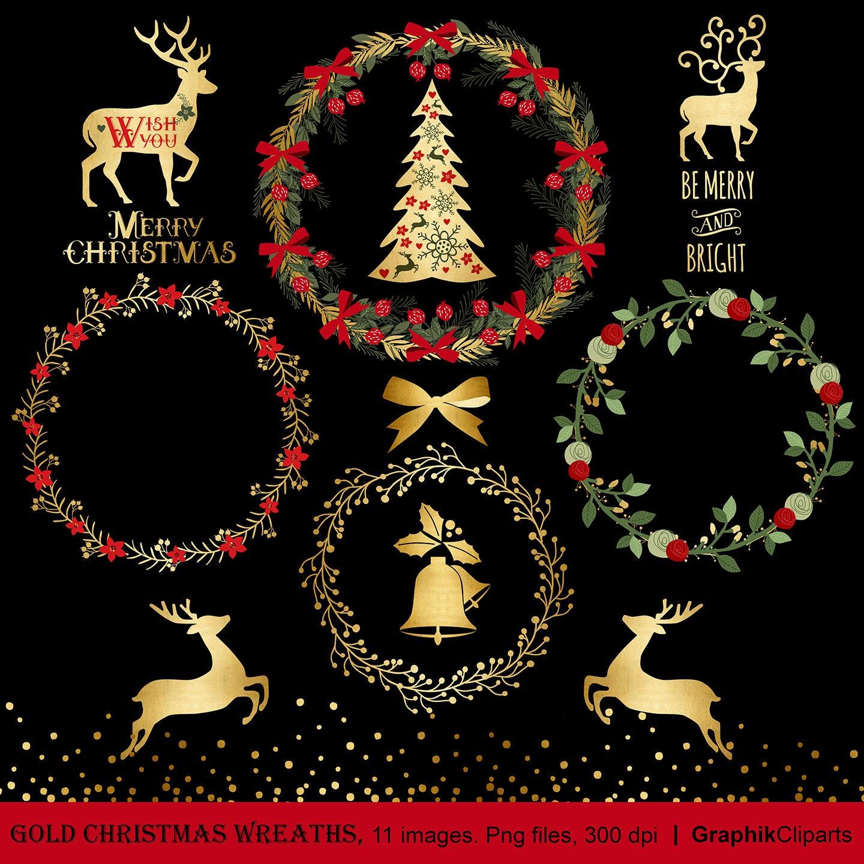 Gold Christmas Wreaths Clip Art. Christmas Deer Christmas