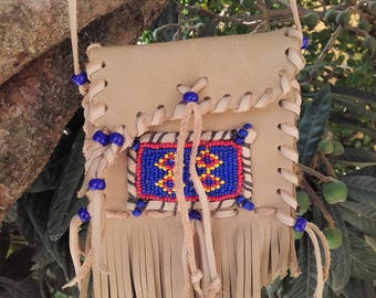bag of wish / medicine bag with fringes and beading