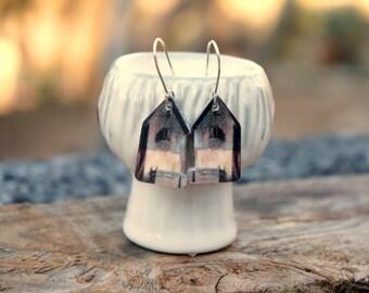 Home sweet home earrings, Romantic earrings, Dangle earrings, Silver earrings, Little house earrings, Cityscape, Skyline jewelry, Cottage