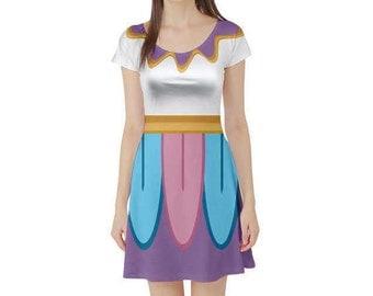 Mrs. Potts Beauty and the Beast Inspired Short Sleeve Skater Dress