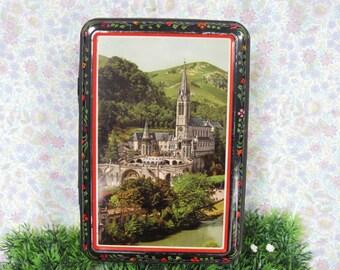 French Vintage Tin - Vintage French Tin - Decorative Tin - Vintage Tin  - French Tin - Brocante - French Decor - Religious Tin
