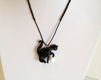 Murano Glass Black Cat Pendant Necklace with White Ball