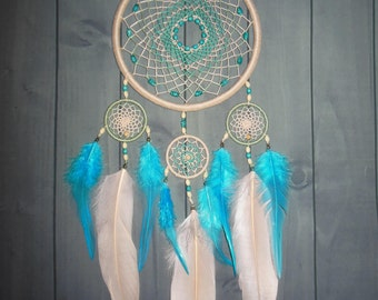 "Dreamcatcher ""Echoes of Spring"" \ Large Dream catcher \ attrape reves \ Traumfanger \ Acchiappasogni \ blue mobile \ Wall Hangings \ Decor"