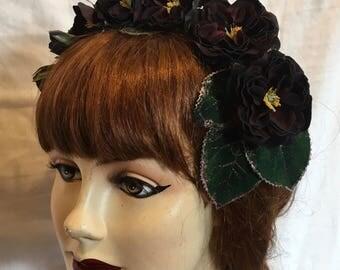 Special Edition Premium Velvet Black Beauty Rambling Rose Cascade Headpiece