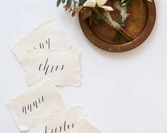 Custom Place Card Calligraphy on Handmade Cotton Paper | Weddings & Special Events