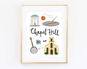 Chapel Hill Art Print, Illustrated Chapel Hill Decor, Chapel Hill Gift, Wall Art