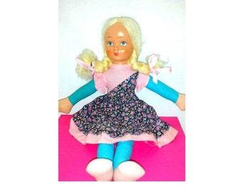 Vintage Mask Face Cloth Doll,Rag Doll,Shelfie,Celluloid, Mask Face Doll,Rubber Face,Vintage Doll, Turquoise,Big Eyes,Kitschy, 1940s