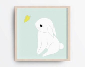 Bunny nursery art, White bunny print, Baby nursery wall art, Baby boy nursery decor, Printable white bunny, Printable nursery art