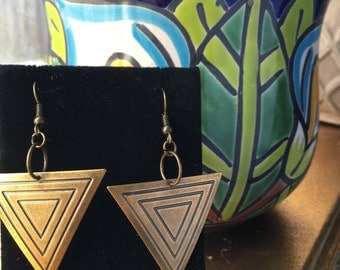 Mia//Brass Dangle Earrings//Tribal Triangle Earrings