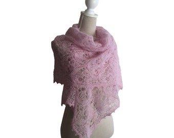 Pink Hand Knitted Lace Alpaca Silk Scarf for Women, Brides Made Shawl,Winter Lace Scarf,Knitted Lace Alpaca Stole in Pink, Winter Lace Shawl