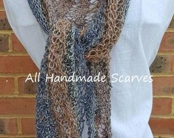 Blue Beige Knitted Asymmetric Scarf/Shawl