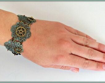 Steampunk bracelet, Gear bracelet, Bronze filigree bracelet, Bronze Steampunk bracelet, Steampunk gift, Gift for her