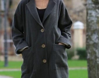 Linen coat. Cozy Linen Coat / Spring jacket / Linen spring Coat / Natural linen top / Linen clothing