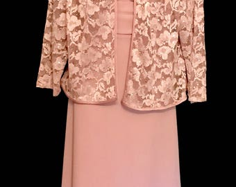 Mauve Gown with Lace Jacket          JVG257
