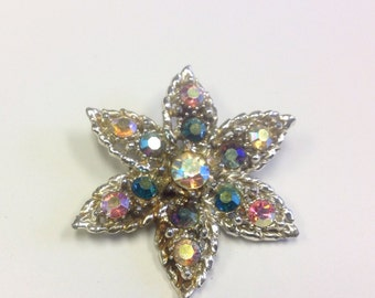 Vintage, 1950s, multicoloured, aurora borealis crystal, star brooch.