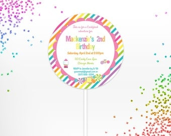 Candyland Lollipop Invite DIY Printable DIGITAL FILE, Candy Land Invitation, Candy Land Party- Printable Digital File, Kid Party Invite