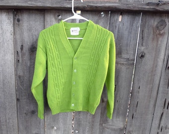 Vintage 50's 60's Pauker Cable Knit Cardigan Sweater Lime Green Virgin Acrylic