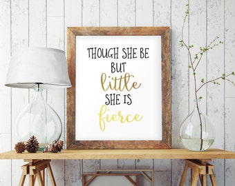 Shakespeare wall art, Shakespeare quote, She is fierce, Nursery wall art, Nursery quotes, Shakespeare print, Nursery decor, Literary quotes