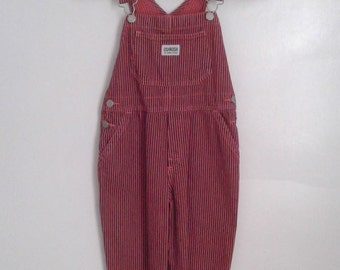 Vintage Kids' Oshkosh Neon Pink Navy Engineer Striped Denim Overalls Sz 5 Traditional Rustic