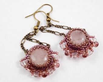Rose quartz beaded earrings/pink/pastel/natural stones