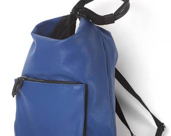 Leather blue hobo bag, shoulder bag, backpack